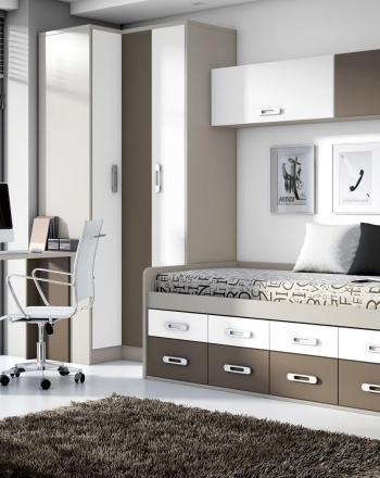 Dormitorio juvenil cama compacta armario rincón mesa estudio