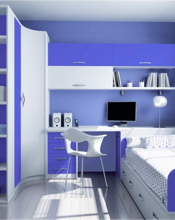 Dormitorio juvenil nido zona estudio armario rincón estantería