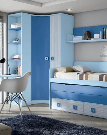 Composición de amueblamiento para habitación juvenil.