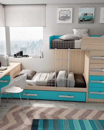 Composición de muebles para habitación juvenil en disposición de tren. Incluye 3 camas.