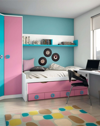 Habitación juvenil modular, con posibilidad de adaptar a cualquier espacio, así como personalización de colores y tiradores.