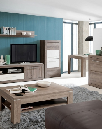 Aparador mesa de centro y mueble para televisión con vitrina y bodeguero