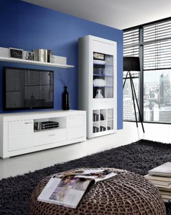 Aparador y mueble de salón para televisión con vitrinas expositoras y bodeguero