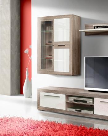 Aparador y mueble salón para televisión con vtrina colgada y módulo bodeguero