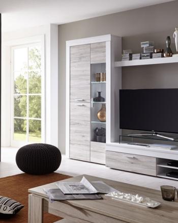 Mueble para salón con luces led y aparador complementario de gran capacidad.