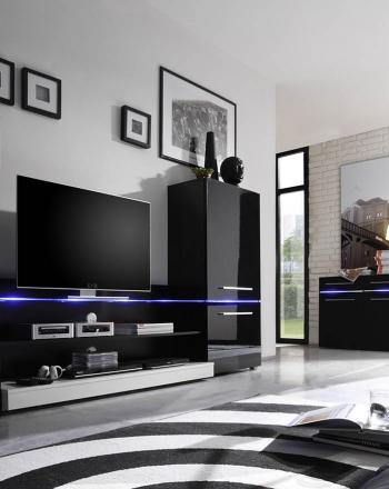 Conjunto de muebles para salón de diseño minimalista con luces led.