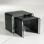 Conjunto mesa cristal resistente negro rincón