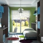 Amueblamiento juvenil cama abatible armario mesa estudio y libreria
