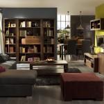 Amueblamiento salón con zona librería zona tv y zona comedor