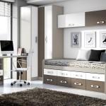 Amueblamiento juvenil cama compacta armario rincón mesa estudio