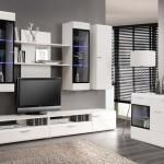 Aparador y mueble salón para tv con vitrinas y luz decorativa