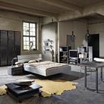 Amueblamiento dormitorio diseño industrial cama mesitas mesa trabajo