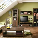 Mesa de centro y mueble salón para televisión con vitrina y librería